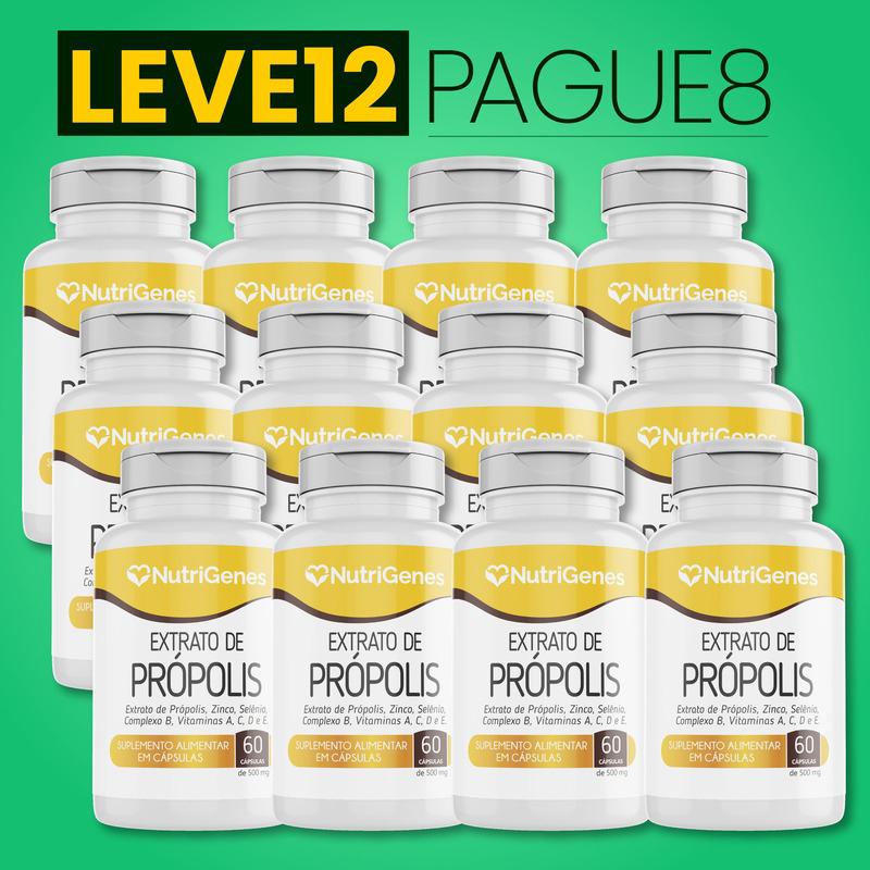 Extrato de Própolis 60 cápsulas   Nutrigenes - Leve 12, Pague 8