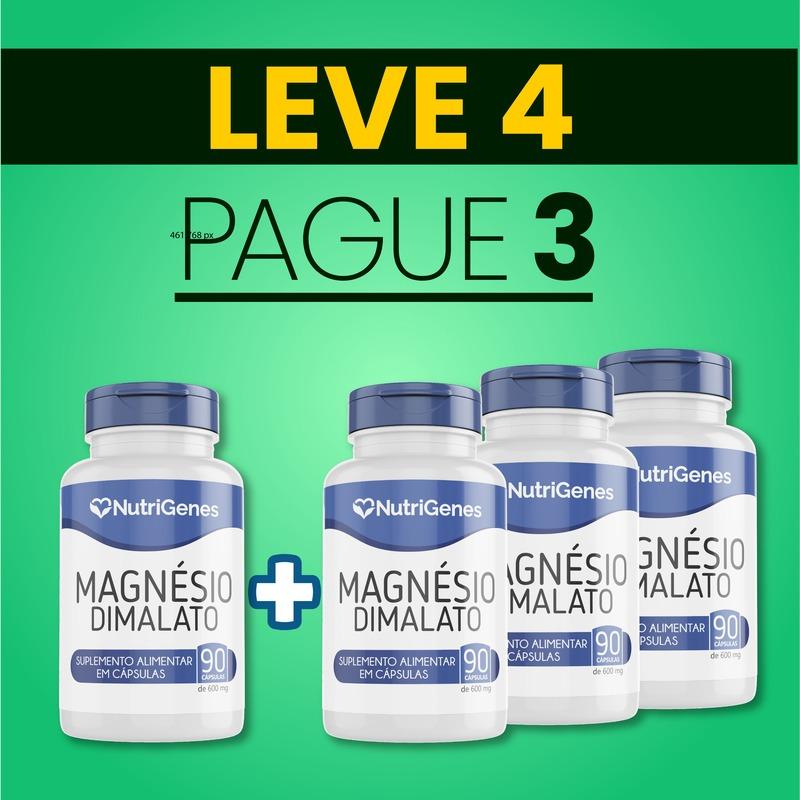 Magnésio Dimalato 90 cápsulas | Nutrigenes - Leve 4, Pague 3