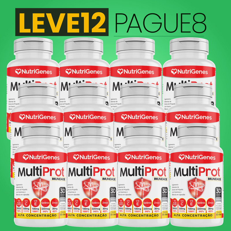 Multi Prot 30 cápsulas   Nutrigenes - Leve 12, Pague 8