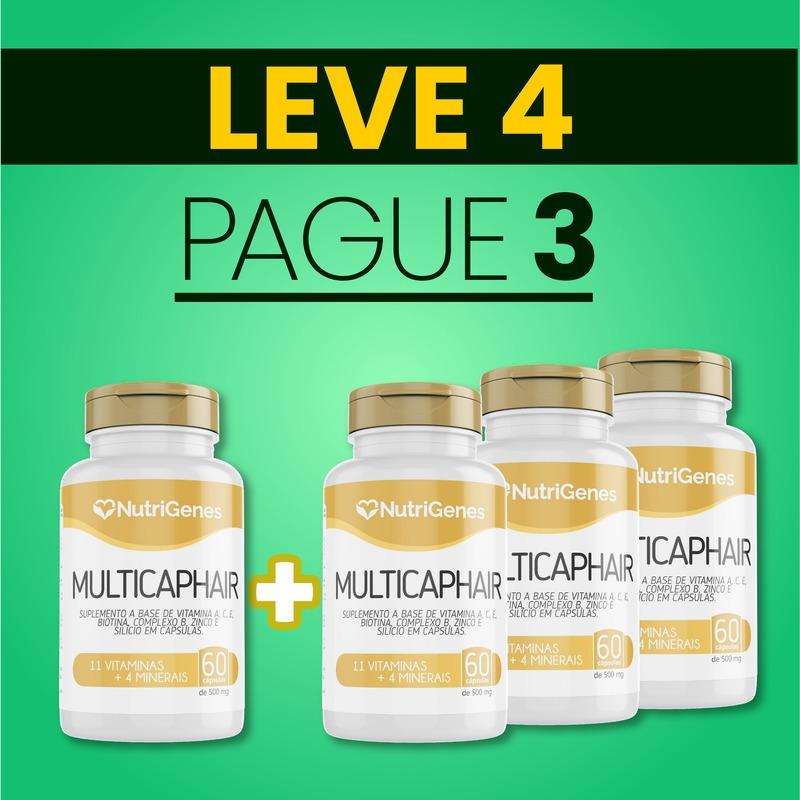 Multicap Hair 60 cápsulas | Nutrigenes - Leve 4, Pague 3