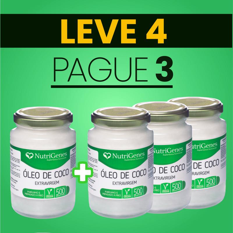 Óleo de Coco 500 ml   Nutrigenes - Leve 4, Pague 3