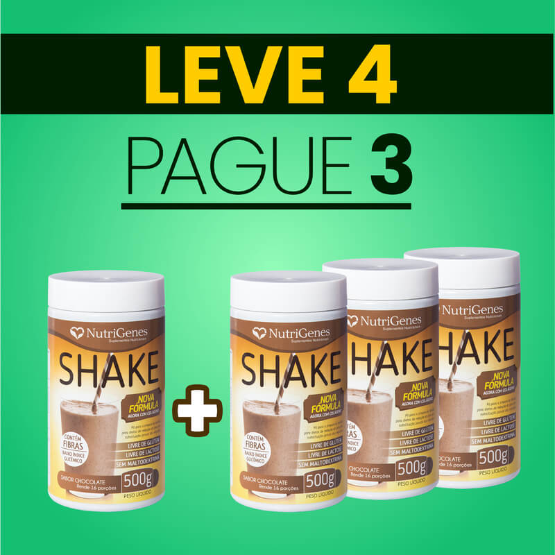 Shake Sabor Chocolate 500 g | Nutrigenes - Leve 4, Pague 3