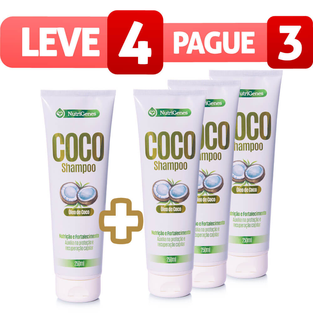 Shampoo de Coco 250ml - Leve 4, Pague 3