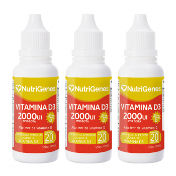 03x Vitamina D3 gotas 2000UI 20 ml | Nutrigenes