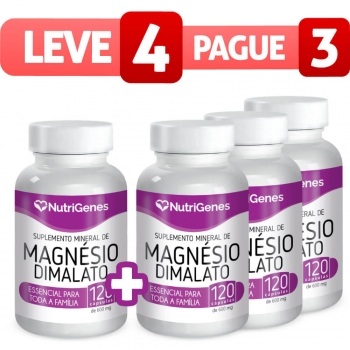 Magnésio Dimalato 120 cápsulas | Nutrigenes - Leve 4, Pague 3