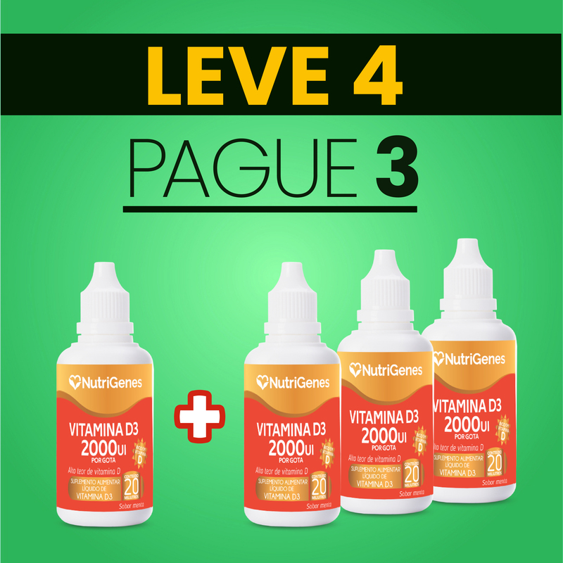 Vitamina D3 gotas 2000UI 20 ml | Nutrigenes - Leve 4, Pague 3