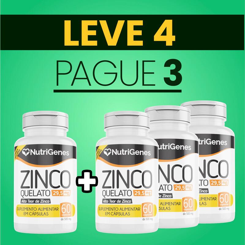 Zinco Quelato 60 cápsulas   Nutrigenes - Leve 4, Pague 3